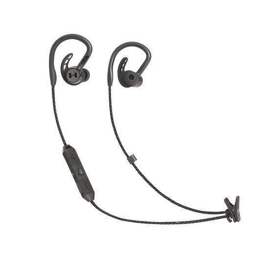 UA Sport Wireless PIVOT - Black - Secure-fitting wireless sport earphones with JBL technology and sound - Hero