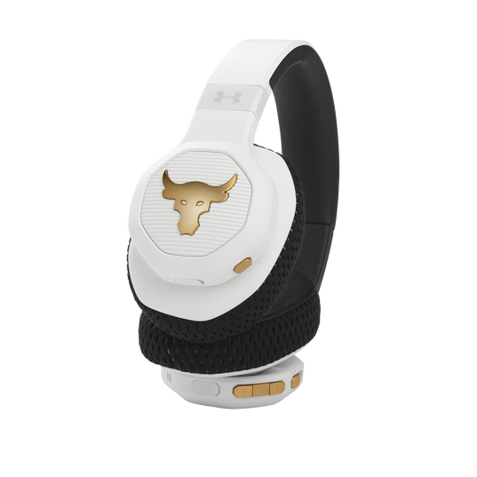 UA Project Rock Over-Ear Training Headphones - Engineered by JBL - White - Over-Ear ANC Sport Headphones - Detailshot 1