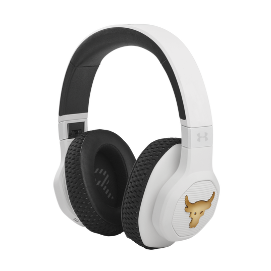 UA Project Rock Over-Ear Training Headphones - Engineered by JBL - White - Over-Ear ANC Sport Headphones - Hero