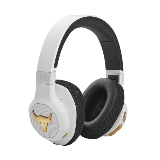 UA Project Rock Over-Ear Training Headphones - Engineered by JBL - White - Over-Ear ANC Sport Headphones - Right