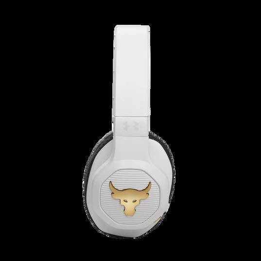 UA Project Rock Over-Ear Training Headphones - Engineered by JBL - White - Over-Ear ANC Sport Headphones - Detailshot 3