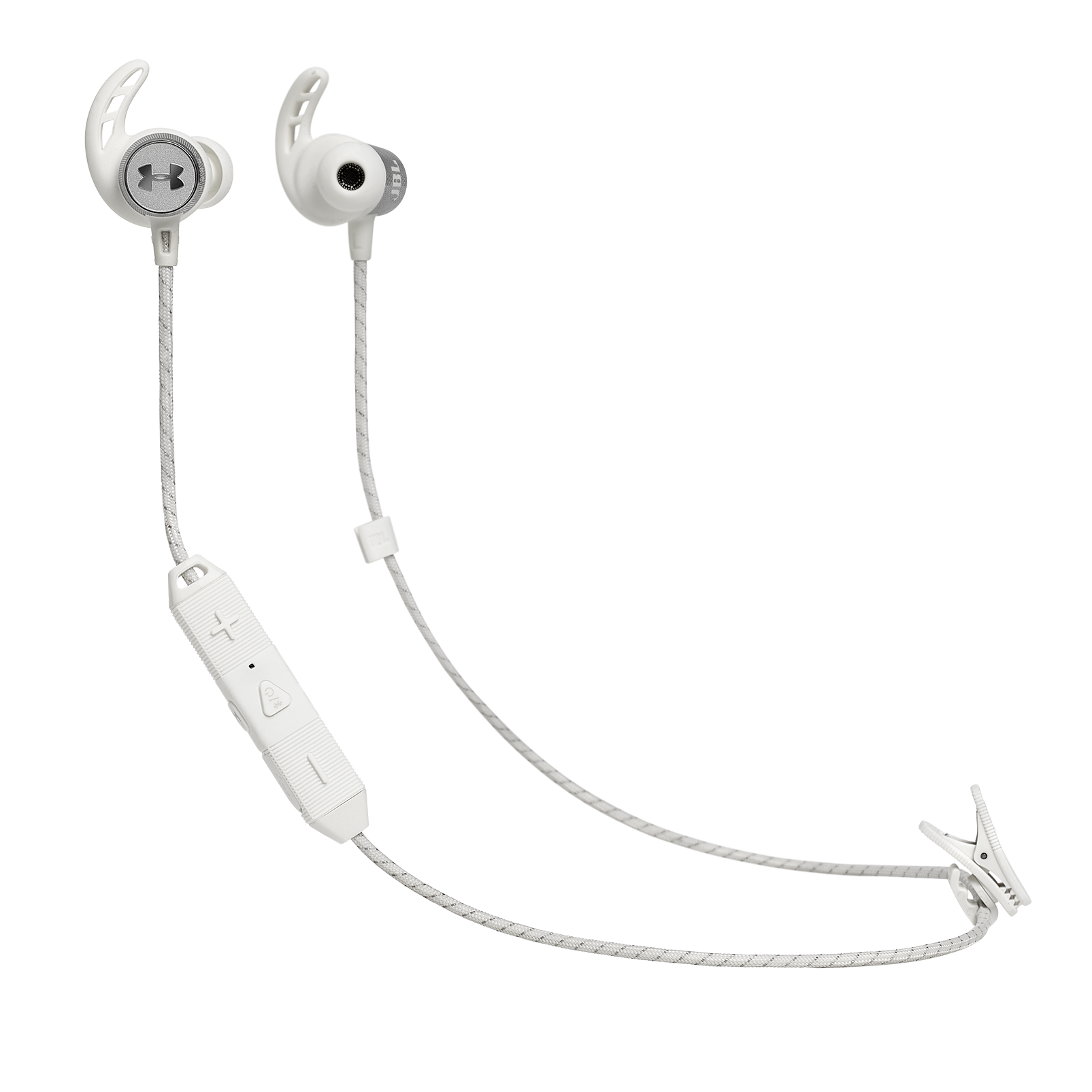 UA Sport Wireless REACT - White - Secure-fitting wireless sport earphones with JBL technology and sound - Hero