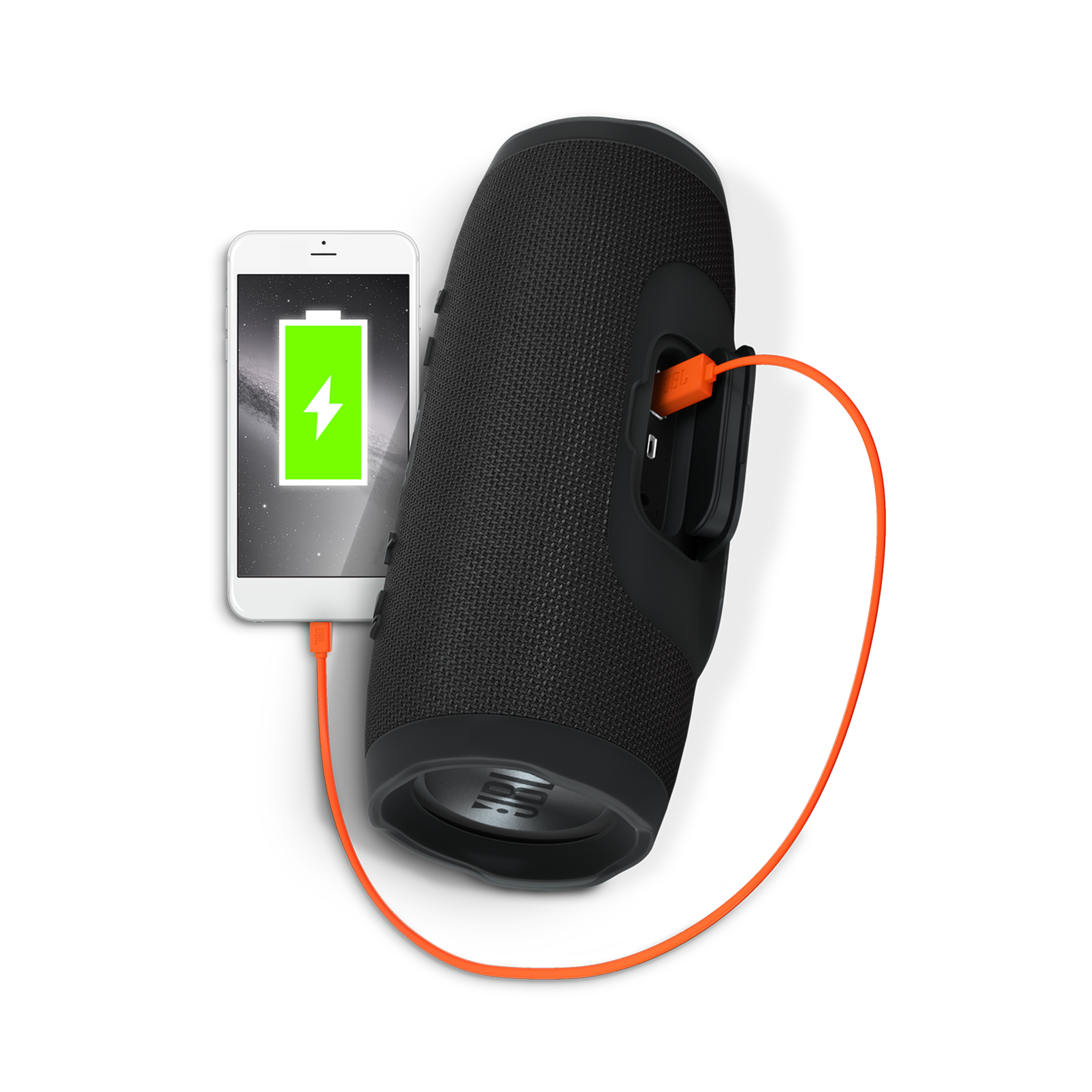 JBL Charge 3 - Black - Full-featured waterproof portable speaker with high-capacity battery to charge your devices - Detailshot 1