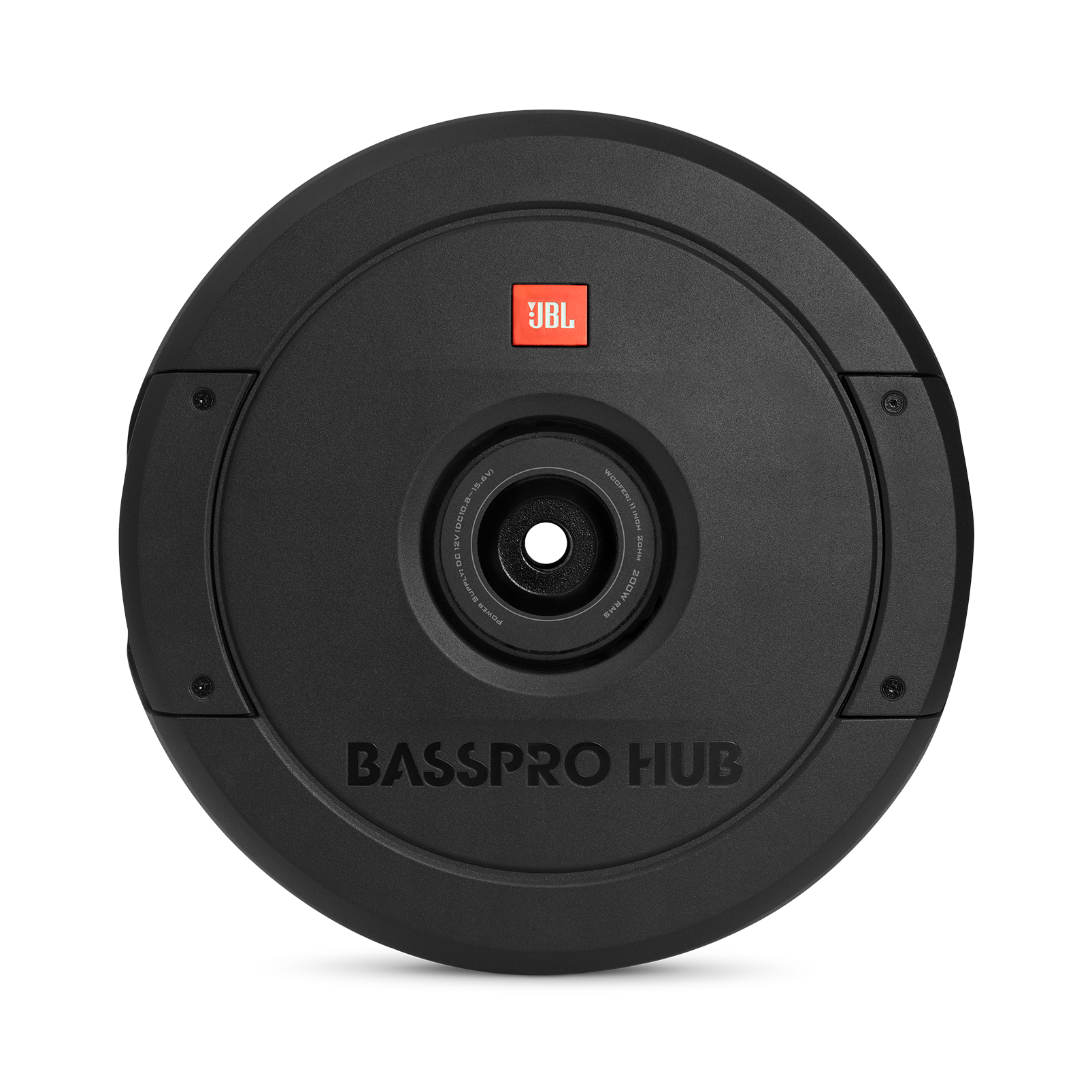 "JBL BassPro Hub - Black - 11"" (279mm) Spare tire subwoofer with built-in 200W RMS amplifier with remote control. - Front"