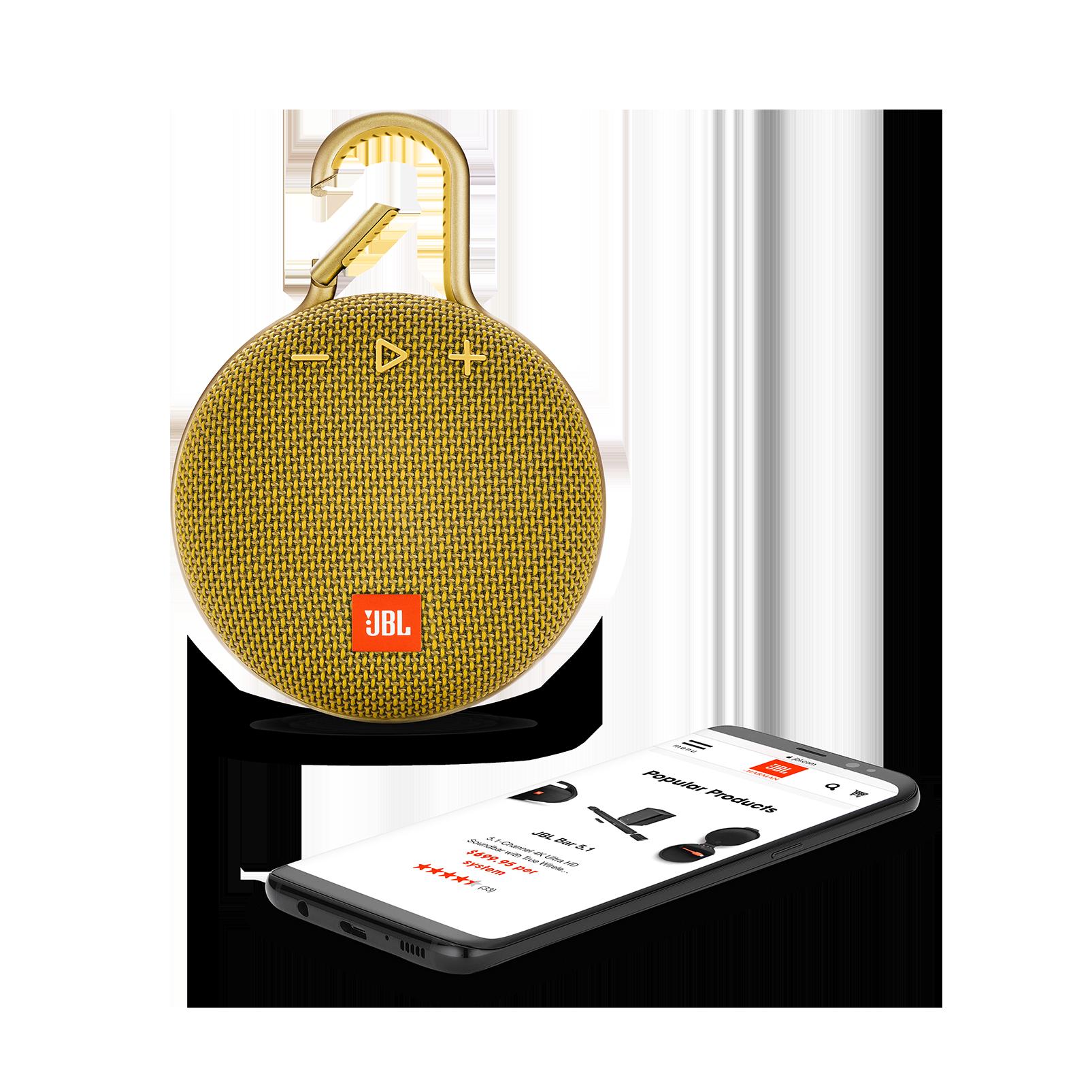 JBL CLIP 3 - Mustard Yellow - Portable Bluetooth® speaker - Detailshot 1